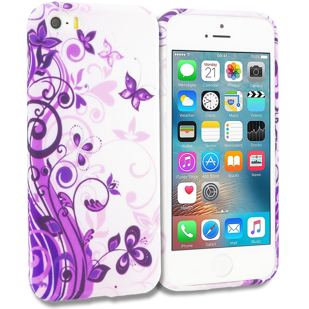 Apple iPhone 5/5S/SE Purple Swirl TPU Design Soft Rubber Case Cover