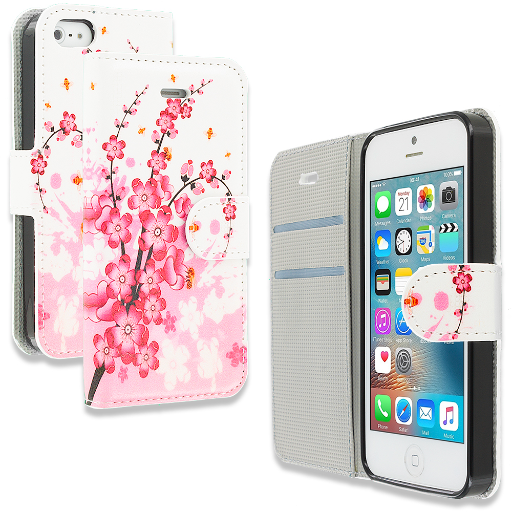 Apple iPhone 5/5S/SE Combo Pack : Pink Colorful Butterfly Design Wallet Flip Pouch Case Cover with Credit Card ID Slots : Color Spring Flower