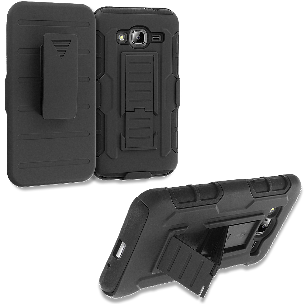 Samsung Galaxy J3 Black Hybrid Shock Absorption Robot Armor Heavy Duty Case Cover with Belt Clip Holster