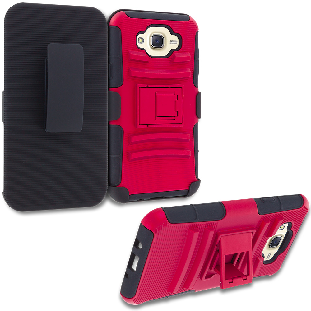 Samsung Galaxy J7 Red Hybrid Heavy Duty Rugged Case Cover with Belt Clip Holster