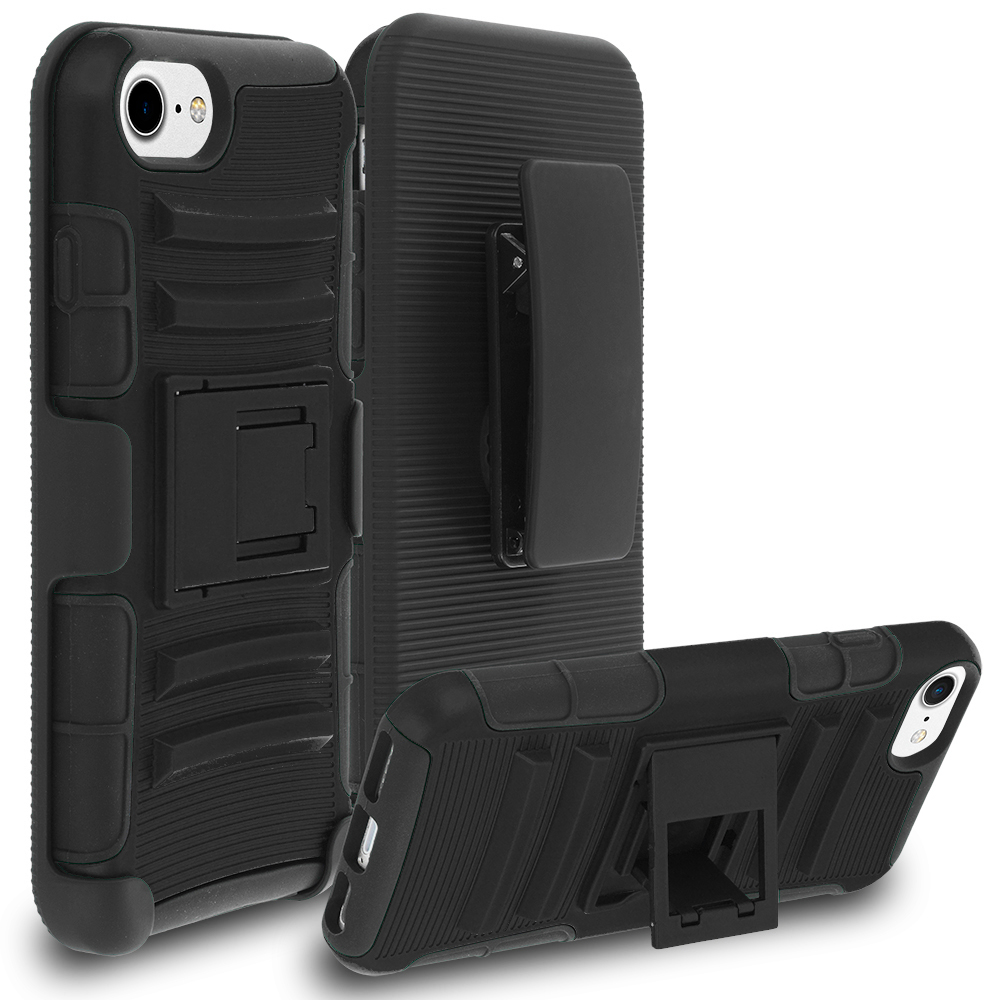 Apple iPhone 7 Plus Black Hybrid Heavy Duty Rugged Case Cover with Belt Clip Holster