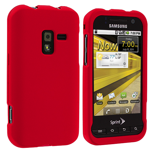 Samsung Conquer 4G D600 Red Hard Rubberized Case Cover