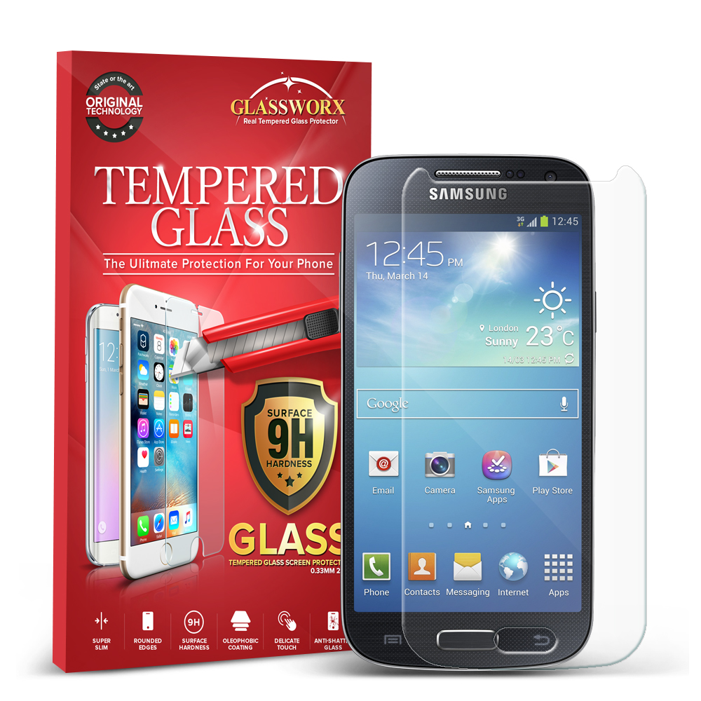 Samsung Galaxy S4 Mini i9190 Clear GlassWorX HD Tempered Glass Screen Protector