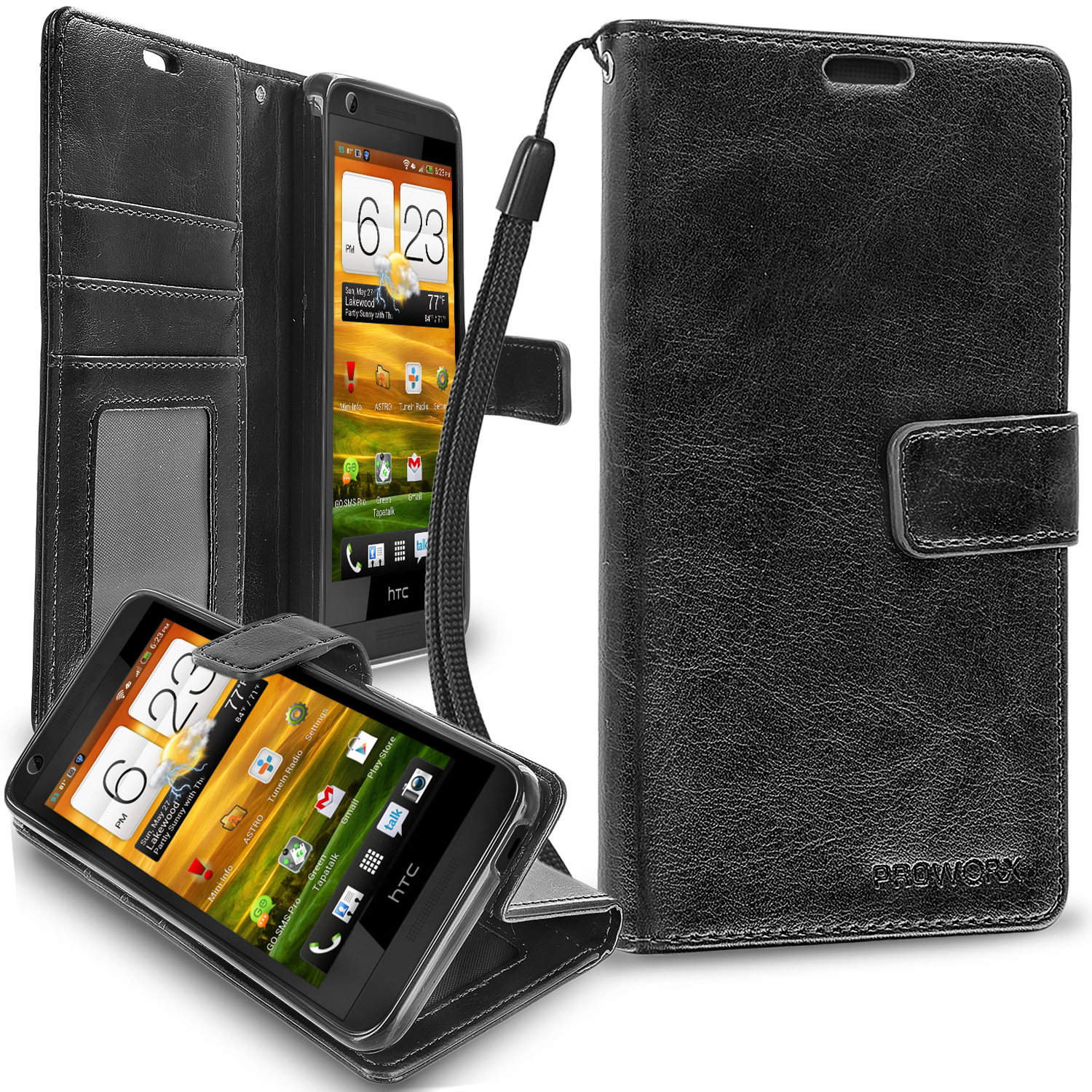 HTC Desire 626 / 626s Black ProWorx Wallet Case Luxury PU Leather Case Cover With Card Slots & Stand