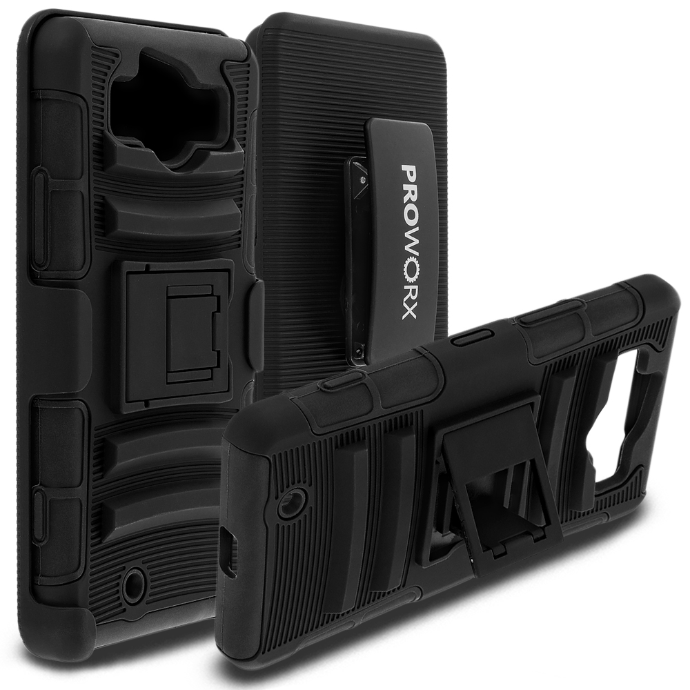 Microsoft Lumia 950 ProWorx Black Heavy Duty Shock Absorption Armor Defender Case Cover With Belt Clip Holster