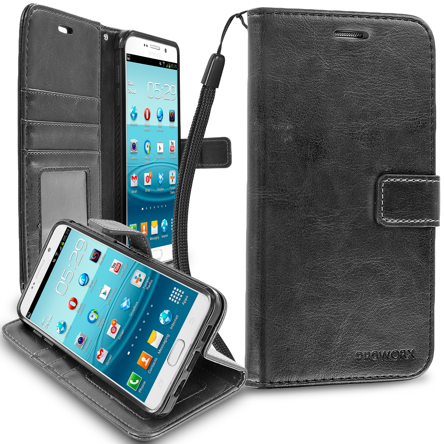 Samsung Galaxy S6 Edge Black ProWorx Wallet Case Luxury PU Leather Case Cover With Card Slots & Stand