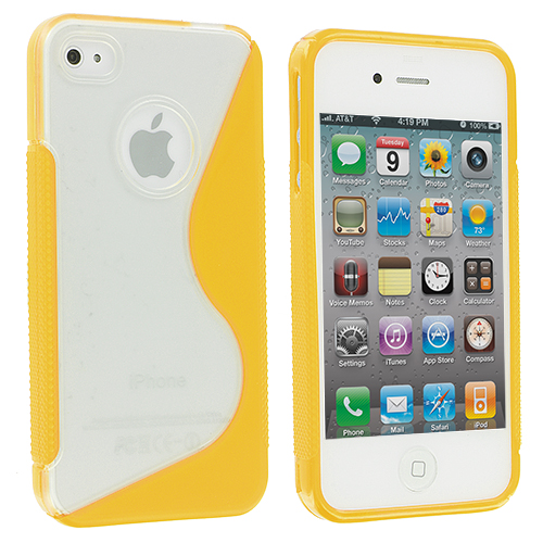 Apple iPhone 4 / 4S Clear / Yellow S-Line TPU Rubber Skin Case Cover