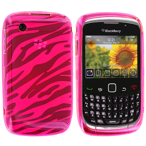 BlackBerry Curve 8520 8530 3G 9300 9330 Hot Pink Zebra TPU Rubber Skin Case Cover