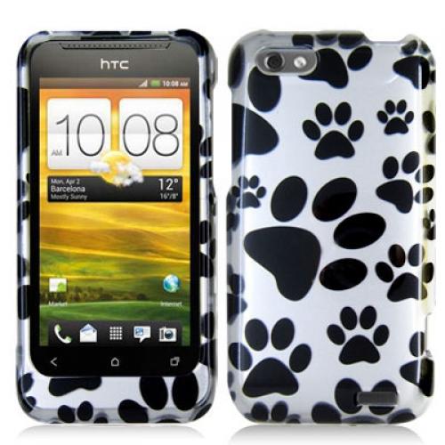 HTC One V Dog Paw Design Crystal Hard Case Cover