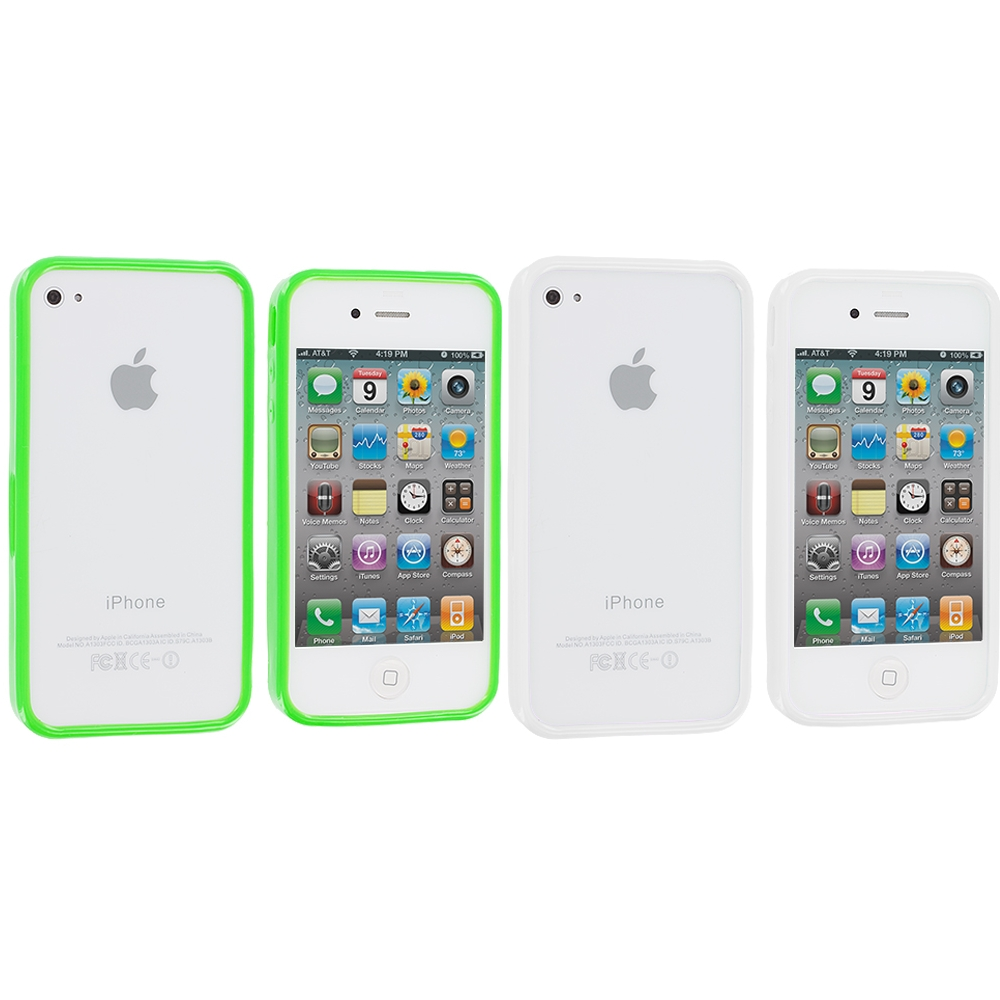 Apple iPhone 4 / 4S 2 in 1 Combo Bundle Pack - Neon Green Silver Solid TPU Bumper