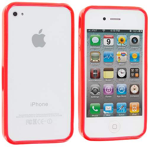Apple iPhone 4 / 4S Red Solid TPU Bumper