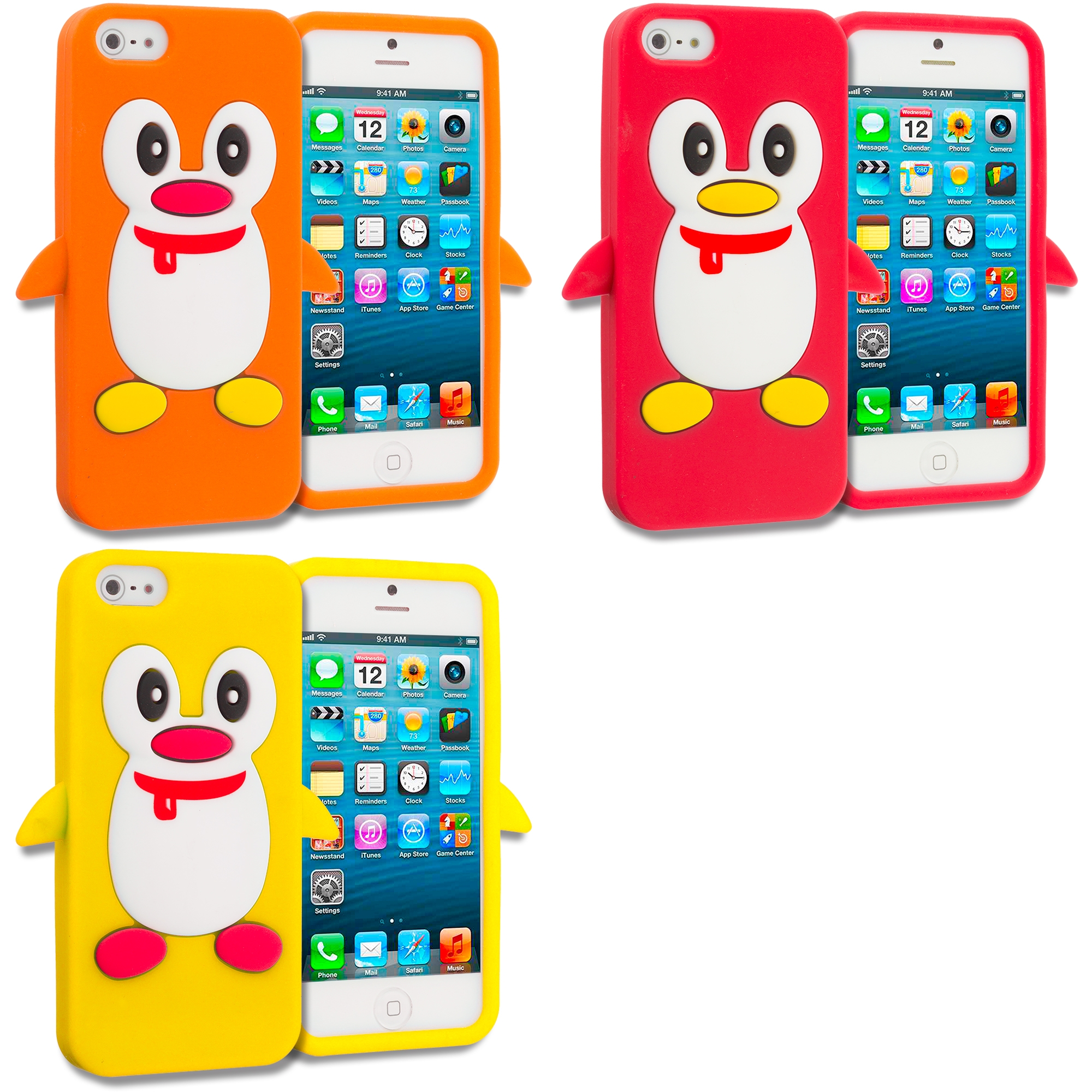 Apple iPhone 5/5S/SE Combo Pack : Orange Penguin Silicone Design Soft Skin Case Cover