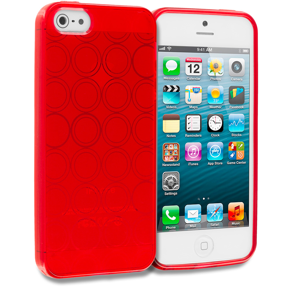 Apple iPhone 5/5S/SE Red Circles TPU Rubber Skin Case Cover