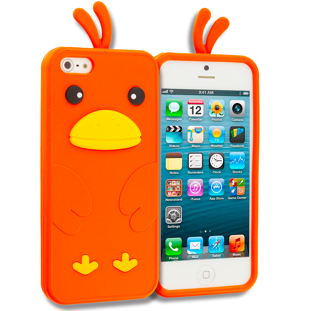 Apple iPhone 5/5S/SE Combo Pack : Black Panda Silicone Design Soft Skin Case Cover : Color Orange Chicken