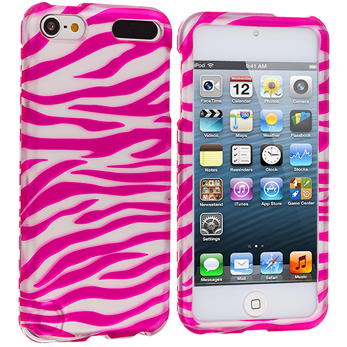 Apple iPod Touch 5th 6th Generation 2 in 1 Combo Bundle Pack - Pink / Hot Pink Zebra Hard Rubberized Design Case Cover : Color Pink / White Zebra