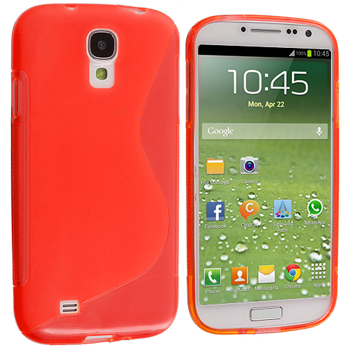 Samsung Galaxy S4 Red S-Line TPU Rubber Skin Case Cover