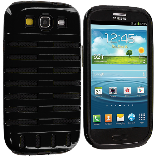 Samsung Galaxy S3 2 in 1 Combo Bundle Pack - Black / Blue Hybrid Ribs Hard/Soft Case Cover : Color Black / Black