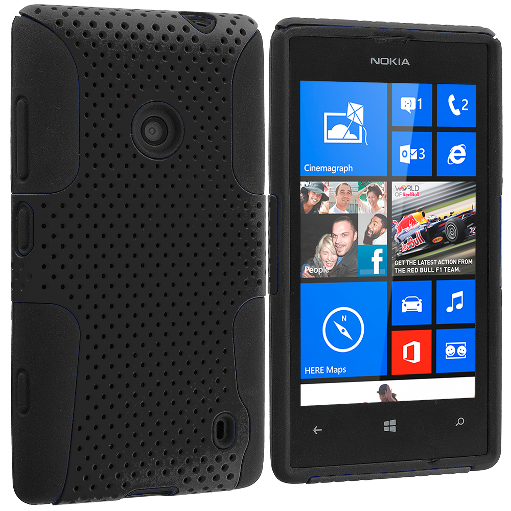 Nokia Lumia 520 Black / Black Hybrid Mesh Hard/Soft Case Cover