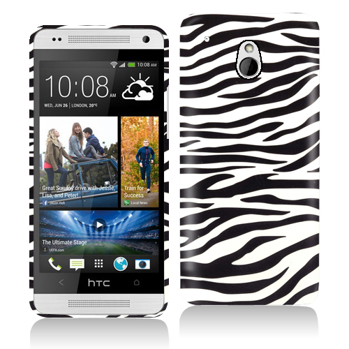 HTC One Mini Black/White Zebra Hard Rubberized Design Case Cover