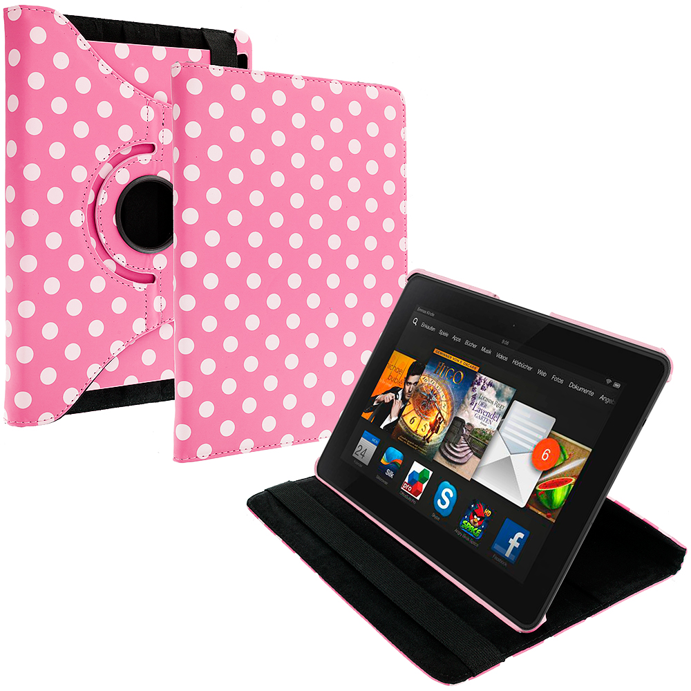 Amazon Kindle Fire HDX 7 Pink White Polka Dot 360 Rotating Leather Pouch Case Cover Stand