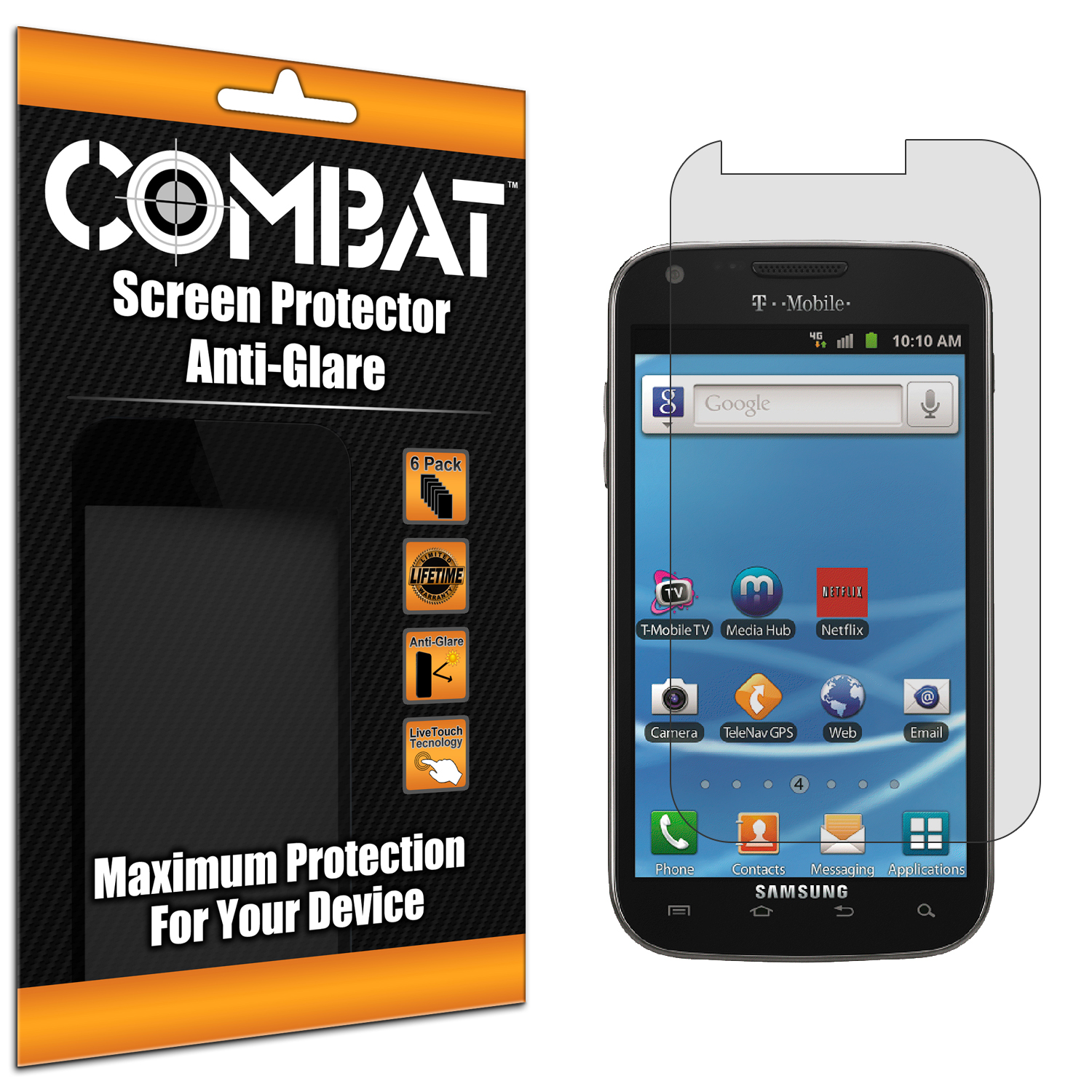 Samsung Hercules T989 T-Mobile Galaxy S2 Combat 6 Pack Anti-Glare Matte Screen Protector