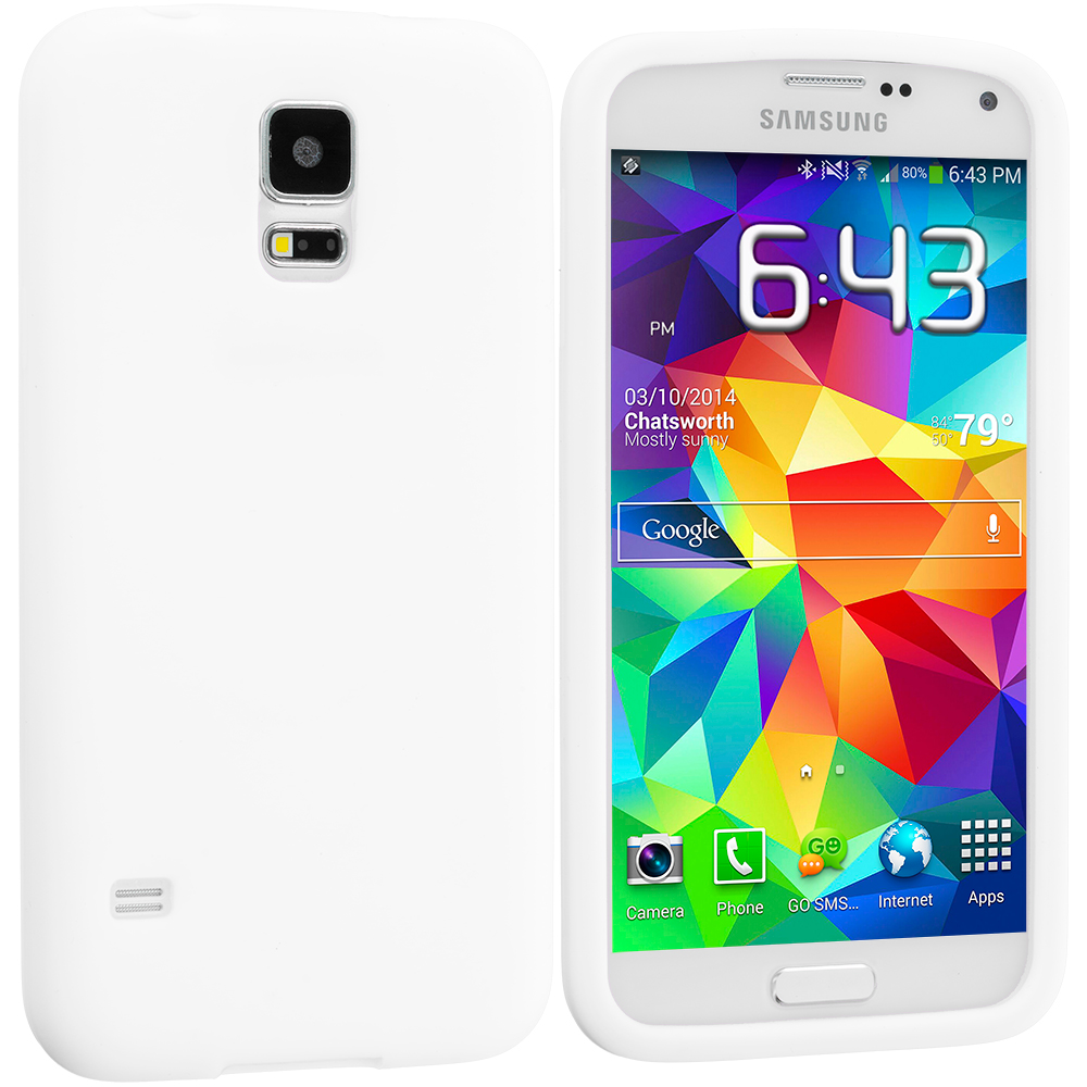 Samsung Galaxy S5 2 in 1 Combo Bundle Pack - White Yellow Silicone Soft Skin Case Cover : Color White
