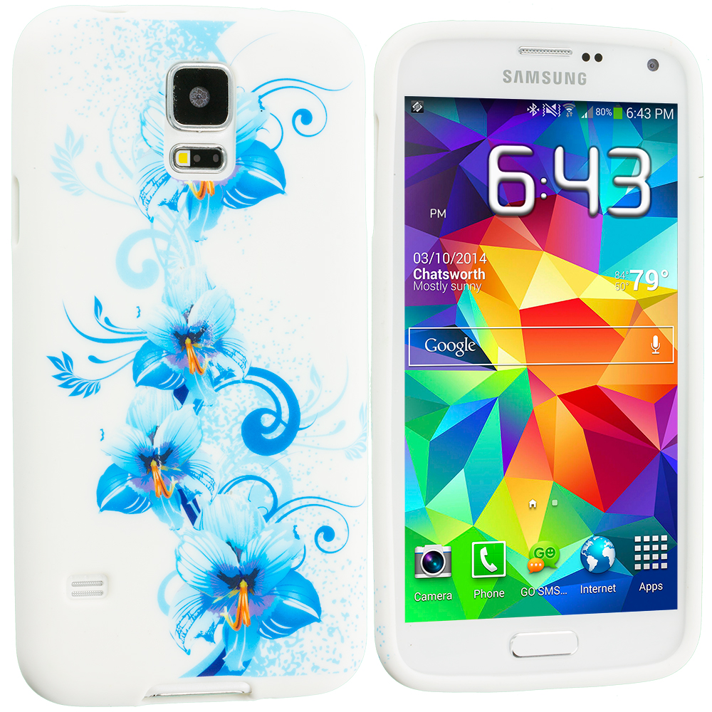 Samsung Galaxy S5 2 in 1 Combo Bundle Pack - Blue White Flower TPU Design Soft Case Cover : Color Blue White Flower