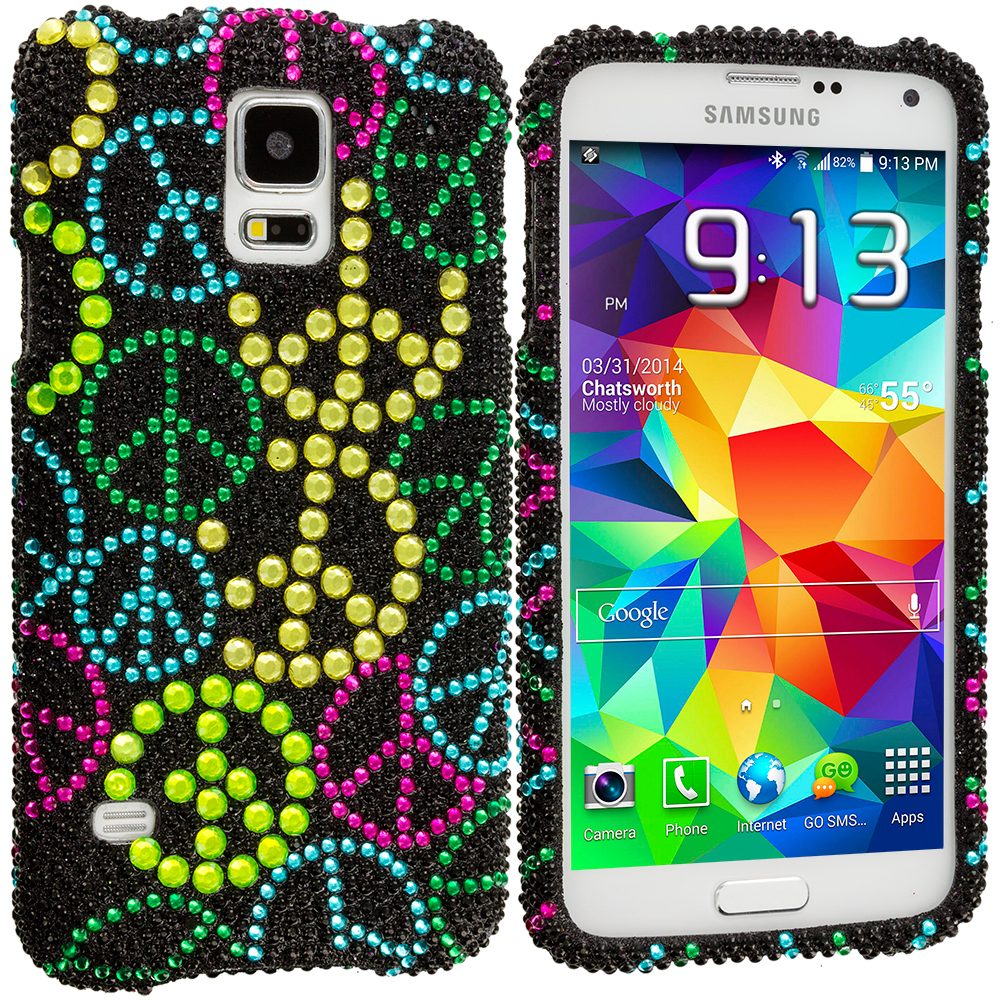 Samsung Galaxy S5 Peace Sign Bling Rhinestone Case Cover