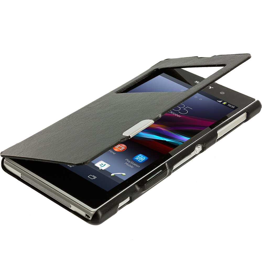 Sony Xperia Z1 Black (Open Front) Magnetic Wallet Case Cover Pouch