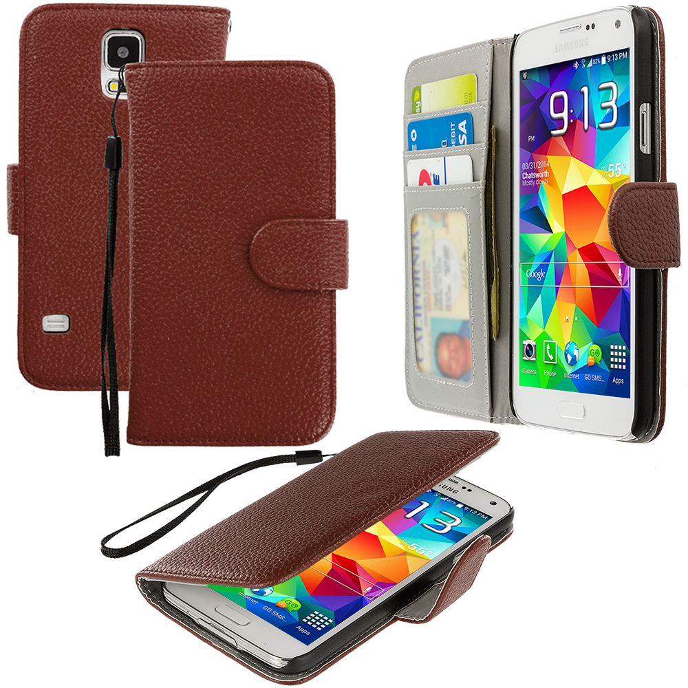 Samsung Galaxy S5 Brown Leather Wallet Pouch Case Cover with Slots