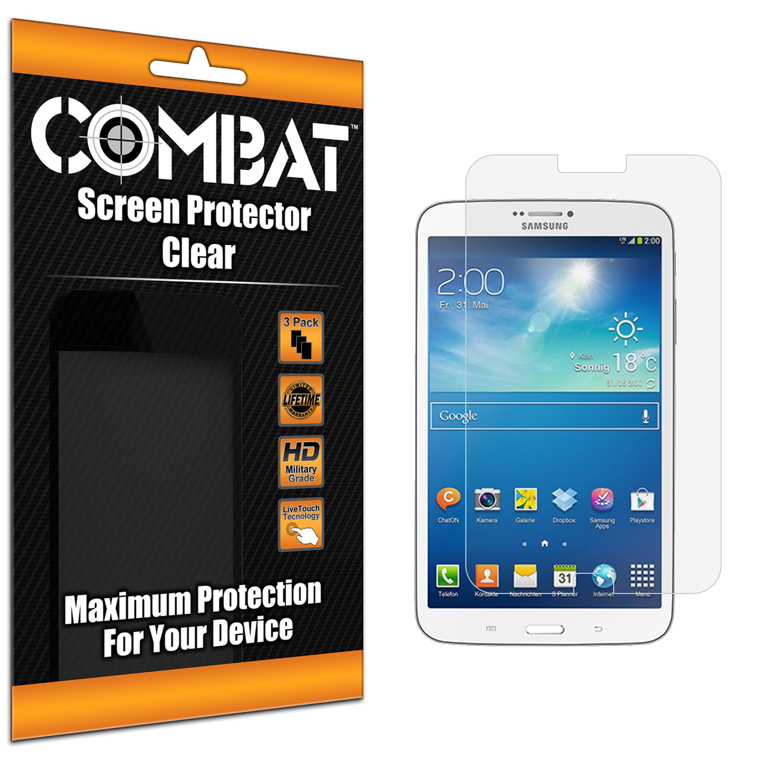 Samsung Galaxy Tab 3 7.0 Combat 3 Pack HD Clear Screen Protector