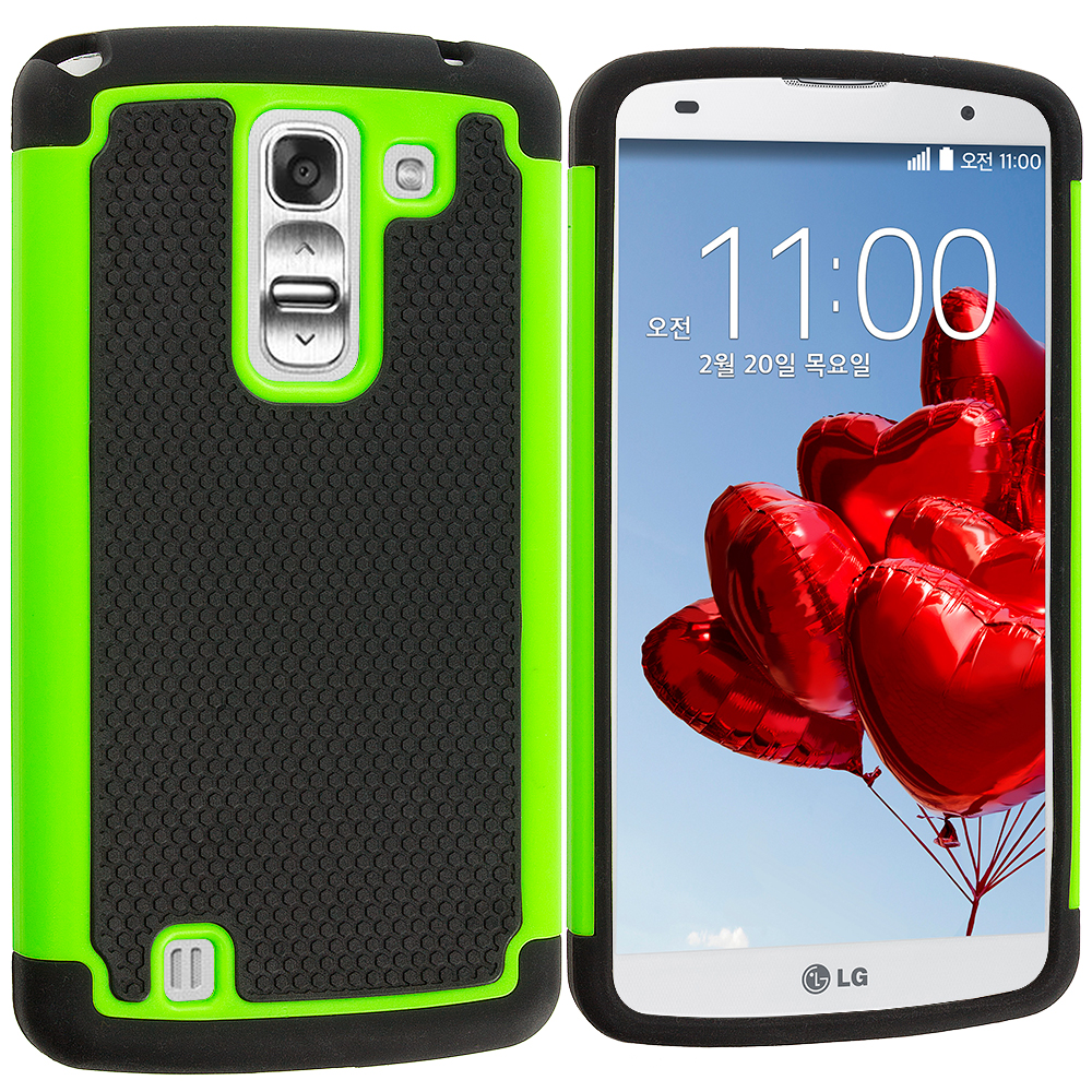 LG G Pro 2 Black / Neon Green Hybrid Rugged Hard/Soft Case Cover