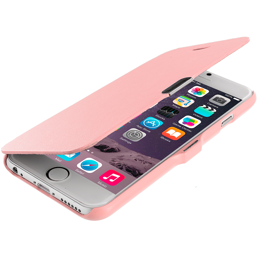 Apple iPhone 6 Plus 6S Plus (5.5) 3 in 1 Combo Bundle Pack - Magnetic Flip Wallet Case Cover Pouch : Color Light Pink