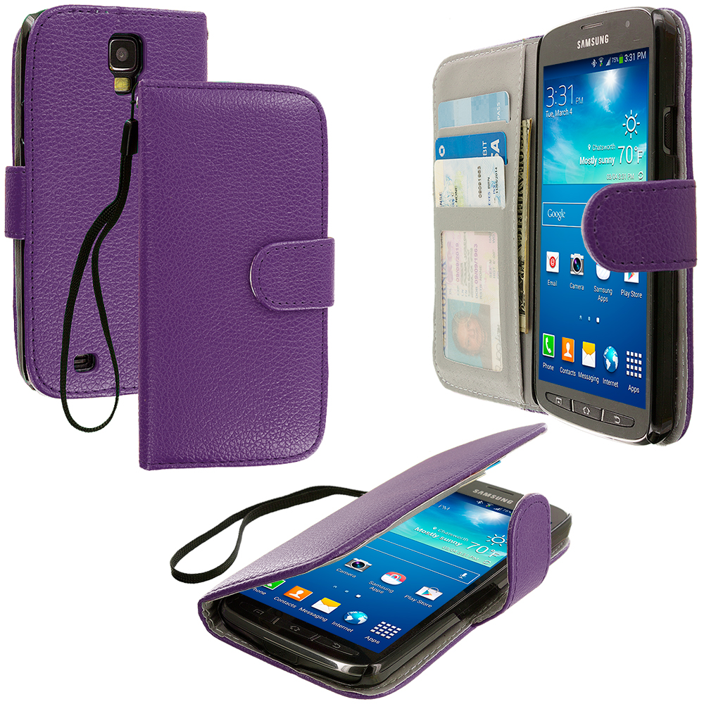 Samsung Galaxy S4 Active i537 Purple Leather Wallet Pouch Case Cover with Slots