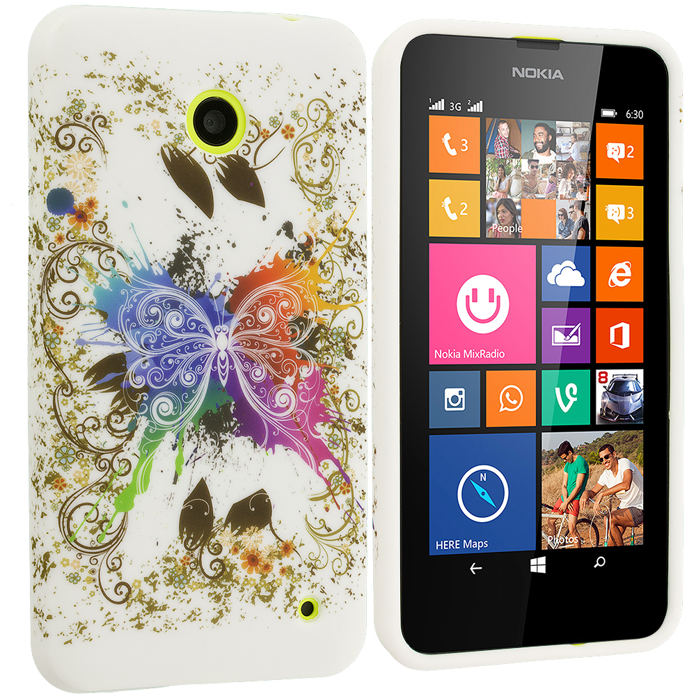 Nokia Lumia 630 635 Colorful Butterfly TPU Design Soft Rubber Case Cover