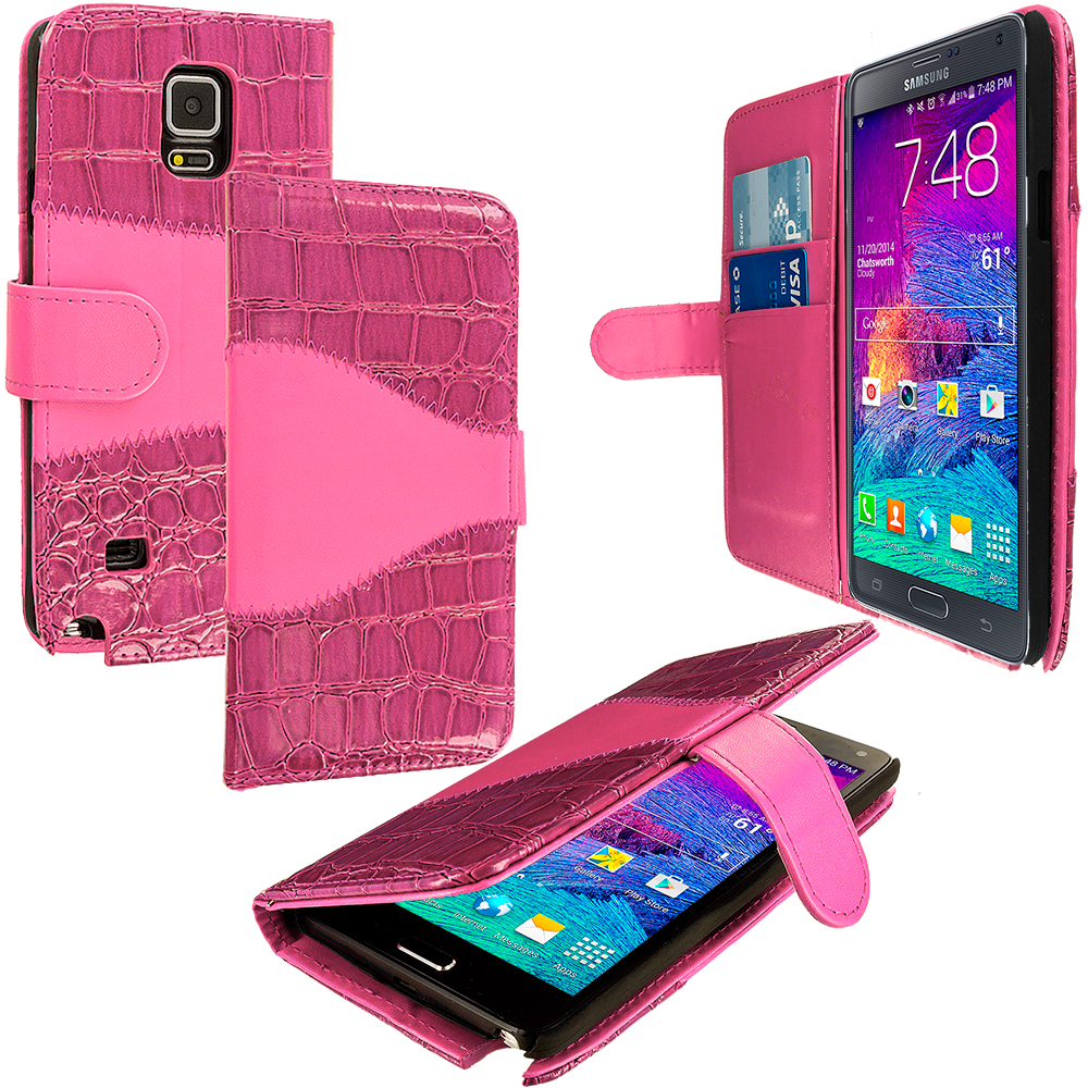 Samsung Galaxy Note 4 2 in 1 Combo Bundle Pack - Hot Pink White Crocodile Wallet Pouch Case with Slots : Color Hot Pink Crocodile