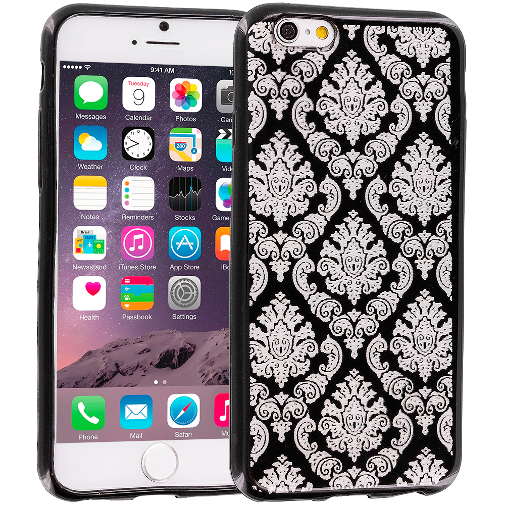 Apple iPhone 6 Plus Black TPU Damask Designer Luxury Rubber Skin Case Cover