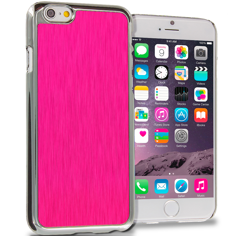 Apple iPhone 6 6S (4.7) 6 in 1 Combo Bundle Pack - Aluminum Metal Hard Case Cover : Color Hot Pink Brushed