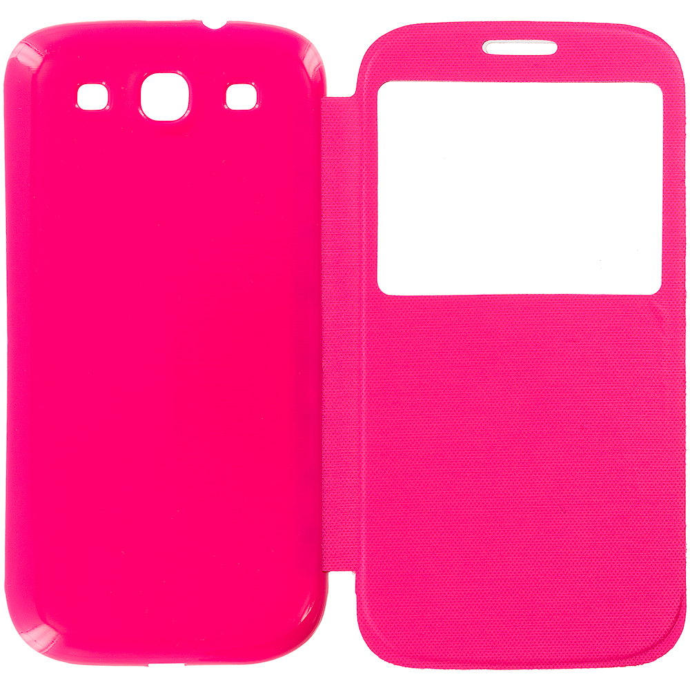 Samsung Galaxy S3 Hot Pink Battery Door Rear Replacement Ultra Slim Wallet Flip Case Cover