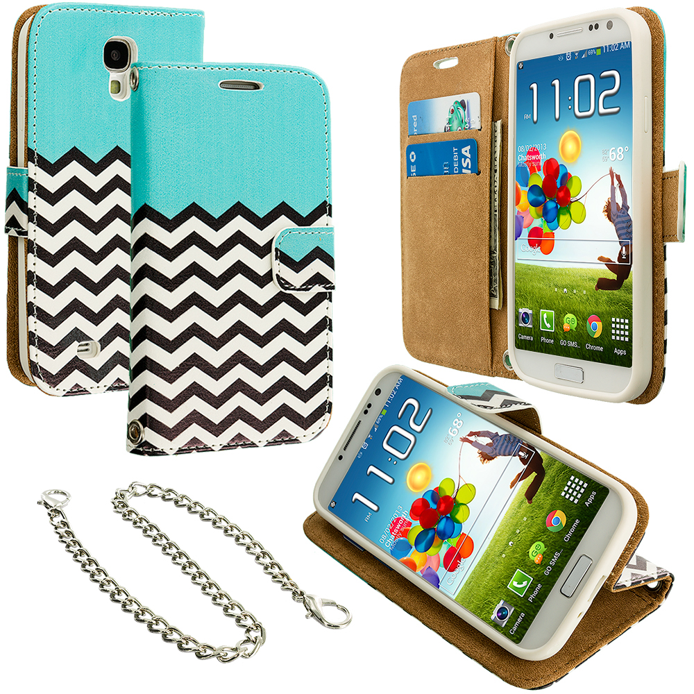 Samsung Galaxy S4 Active i537 Mint Green Zebra Leather Wallet Pouch Case Cover with Slots