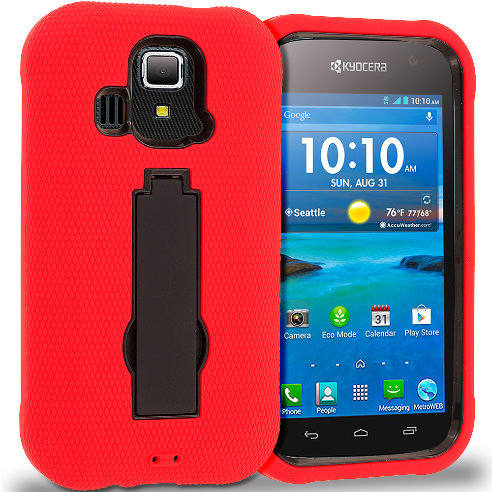 Kyocera Hydro XTRM Red / Black Hybrid Heavy Duty Hard Soft Case Cover with Kickstand