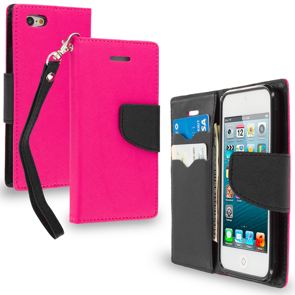 Apple iPod Touch 5th 6th Generation Hot Pink / Black Leather Flip Wallet Pouch TPU Case Cover with ID Card Slots