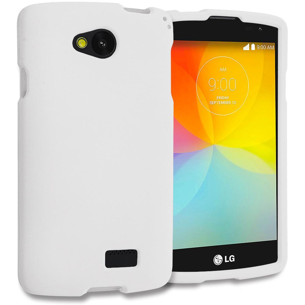 LG Transpyre Tribute F60 White Hard Rubberized Case Cover