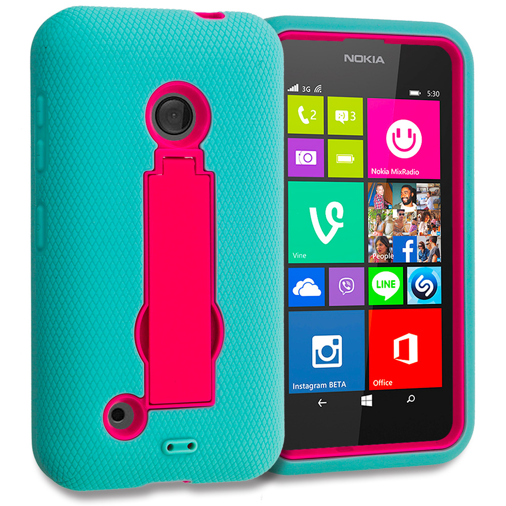 Nokia Lumia 530 Teal / Hot Pink Hybrid Heavy Duty Hard Soft Case Cover with Kickstand