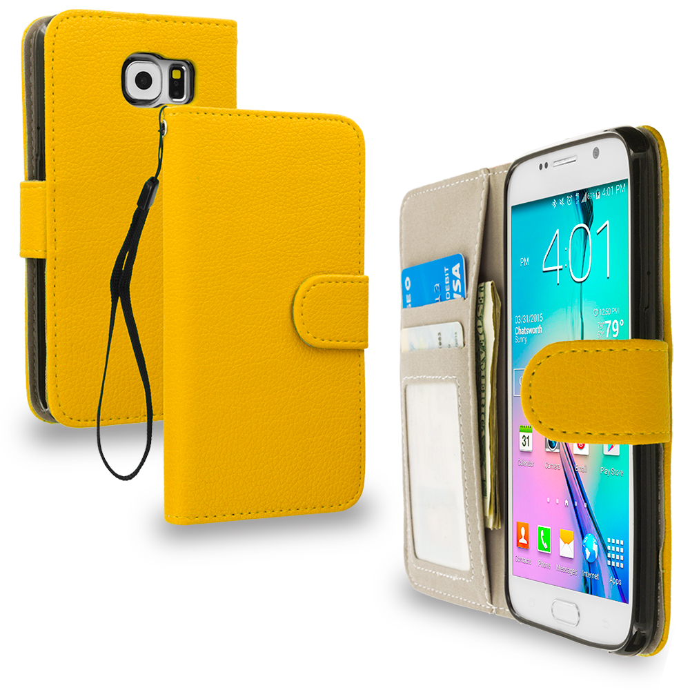Samsung Galaxy S6 Combo Pack : Neon Green Leather Wallet Pouch Case Cover with Slots : Color Yellow