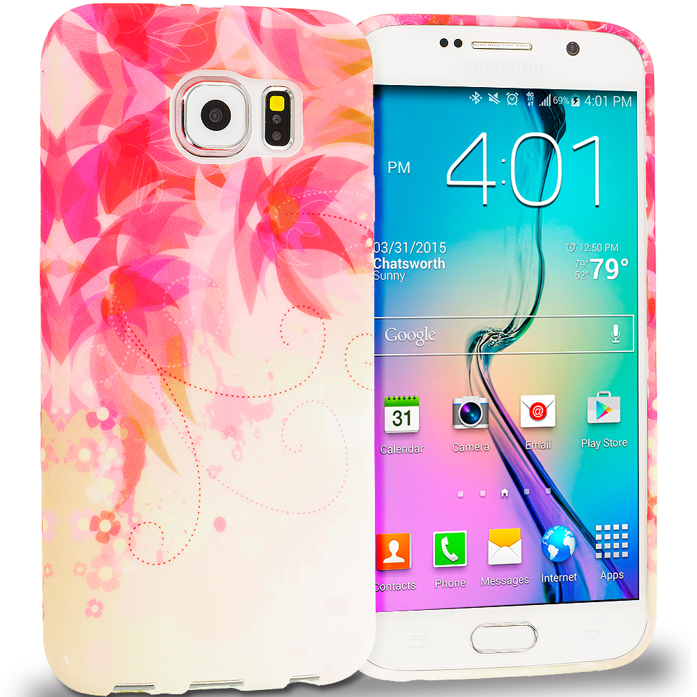 Samsung Galaxy S6 Flower with Red Leaf TPU Design Soft Rubber Case Cover