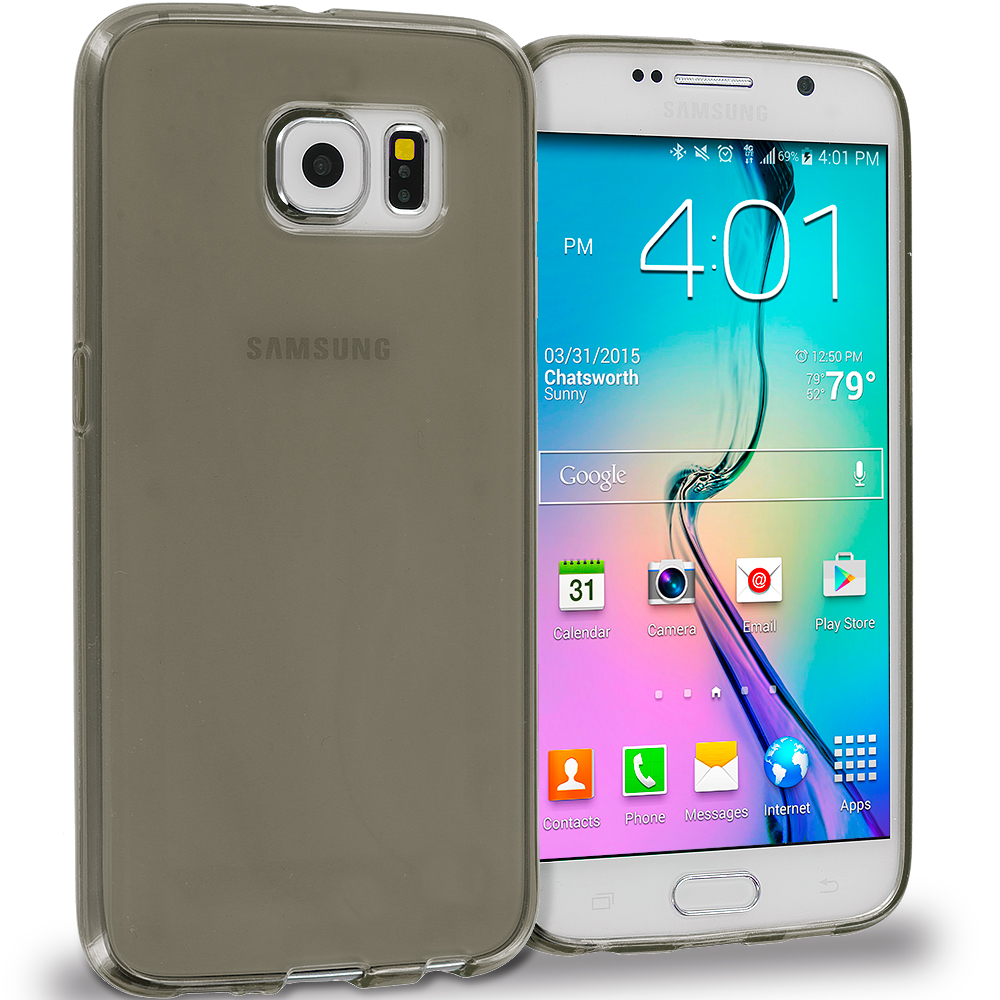 Samsung Galaxy S6 Combo Pack : Clear Plain TPU Rubber Skin Case Cover : Color Smoke Plain