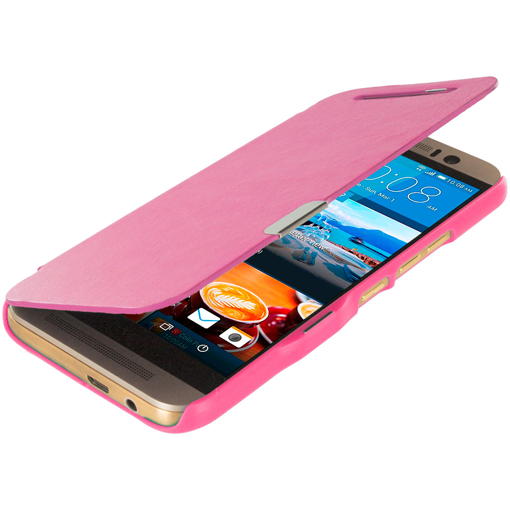HTC One M9 Hot Pink Magnetic Flip Wallet Case Cover Pouch