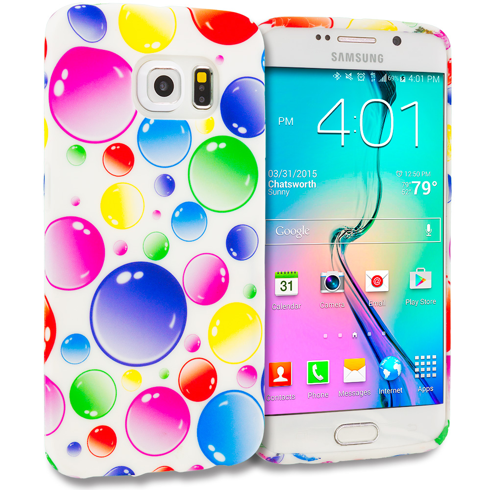 Samsung Galaxy S6 Edge Bubbles TPU Design Soft Rubber Case Cover