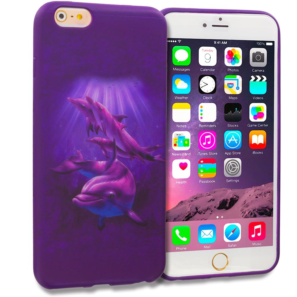 Apple iPhone 6 Plus 6S Plus (5.5) Purple Dolphin TPU Design Soft Rubber Case Cover